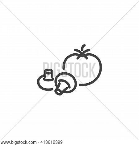 Tomato And Mushroom Line Icon. Linear Style Sign For Mobile Concept And Web Design. Fresh Vegetable,