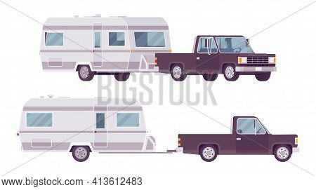 Camper Trailer Black Car And Covered Wagon, Family Camping Trip. Vehicle, Transport, Sleeping Accomm