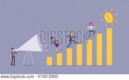 Giant Megaphone Motivational Speech For Entrepreneurs, Workers, Growing Bar Chart. Enthusiastic Man