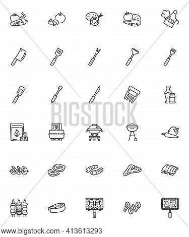 Bbq Food Line Icons Set. Linear Style Symbol Collection, Outline Signs Pack. Barbeque Food Vector Gr