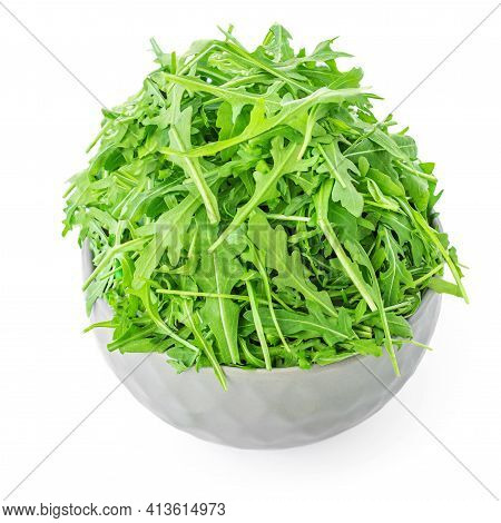 Fresh Rucola In A Bowl Isolated On White Background. Rocket Salad Or Arugula, Healthy Dieting Concep