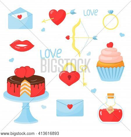 Set Of Elements For Valentines Day: Heart, Cake, Cupcake, Arrow And Bow, Ring, Letter, Elixir Of Lov