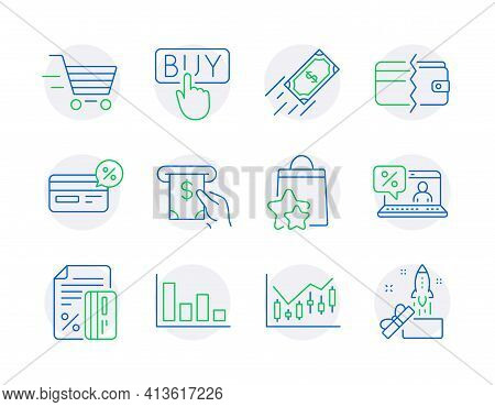 Finance Icons Set. Included Icon As Cashback, Financial Diagram, Histogram Signs. Vector