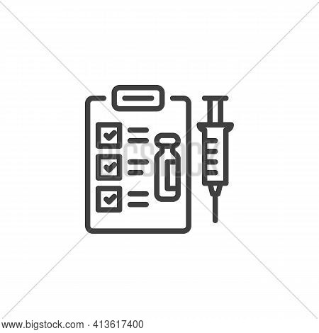 Vaccination Schedule Line Icon. Injection Syringe Linear Style Sign For Mobile Concept And Web Desig