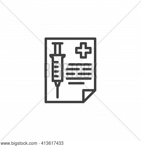 Vaccination Record Card Line Icon. Linear Style Sign For Mobile Concept And Web Design. Medical Vacc