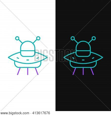 Line Ufo Flying Spaceship Icon Isolated On White And Black Background. Flying Saucer. Alien Space Sh