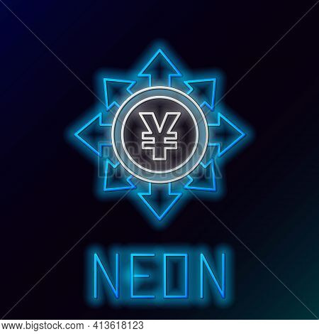 Glowing Neon Line Coin Money With Yen Symbol Icon Isolated On Black Background. Banking Currency Sig