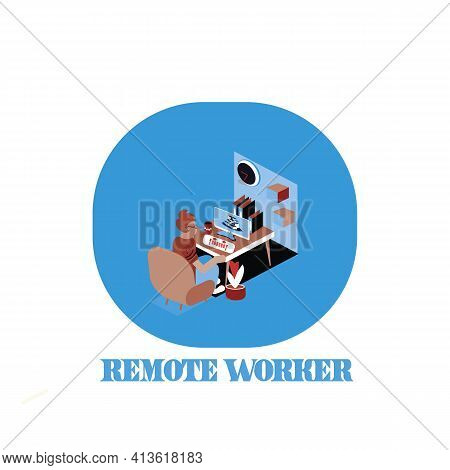 Symbolic Office, Computer Symbol As Remote Web Assistance For Humans. Internet Workers Simple Man Ca