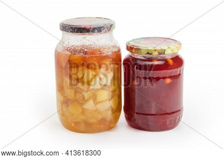 Apricot Jam With Whole Apricot Kernels Addition And Apple Jam With Whole Apple Slices In Two Glass J