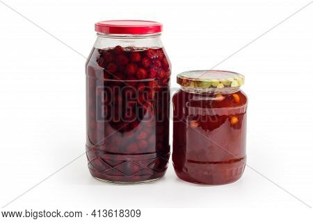 Apricot Jam With Whole Apricot Kernels Addition And Cherry Jam With Whole Berries Without Stones In