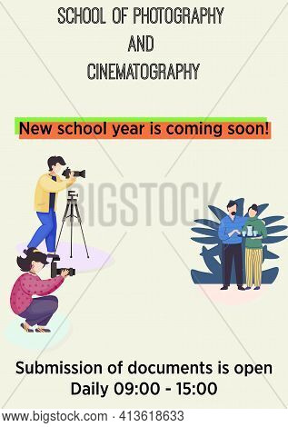 Photographer And Cinematography School Or Profession Photography Courses Advertisement Poster