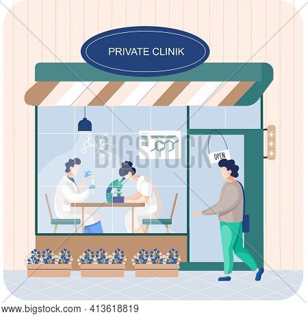 Patient Enters Private Clinic. Doctor In Medical Uniform In Hospital Or Laboratory Doing Tests
