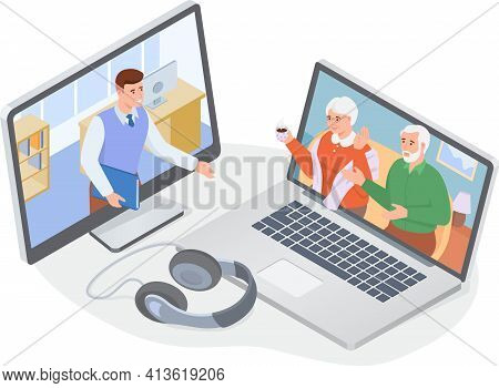 Video Call With Parents. Online Family Chat. Man Talking With His Elderly Parents Via Computer