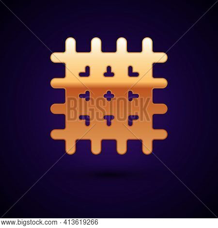Gold Cracker Biscuit Icon Isolated On Black Background. Sweet Cookie. Vector