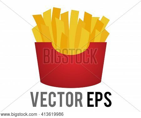 Vector Thin Cut, Golden Brown French Fries Junk Food Icon In Red Carton