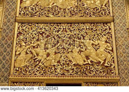 Wall Decoration In Xieng Thong Temple In Luang Prabang, Laos.