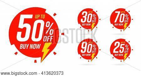 Upto 25, 30, 50, 70, 90 Percent Price Reduction Sale Sticker. Buy Now Marketing Promotion Ecommerce