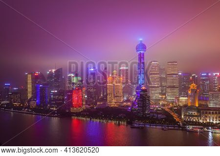 Shanghai, China - May 21, 2018: A night view of the modern Pudong skyline in Shanghai, China.