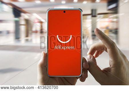 February 21, 2021, Barnaul, Russia: Aliexpress Application Icon On Smartphone Screen. Aliexpress App