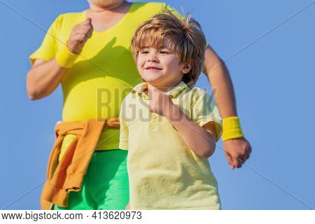 Healthy Sport Activity For Children. Sport For Kids, Active Child Running. Healthy Family Concept. C