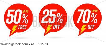 50 Percent Free, 25 And 70 Percentage Off Sale Label Set. Red Round Sticky Badge Speech Bubble Shape