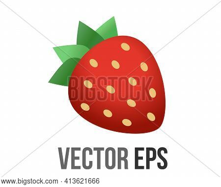 Vector Fruit Of Rich Red Strawberry Dotted Icon With Seeds And Crowned With Green Leaves