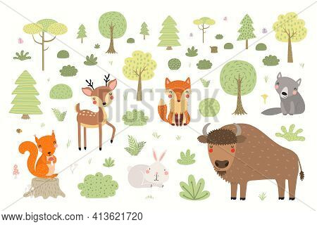 Cute Wild Animals, Forest Scene, Woodland Landscape, Isolated On White Background. Hand Drawn Vector