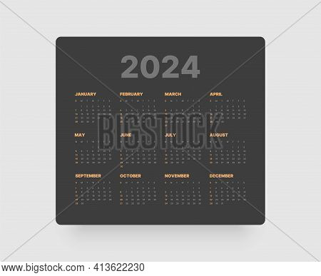 Monthly Calendar For 2024 Year. Week Starts On Sunday.