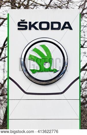 Hamburg, Germany – March 17, 2021. Signage on pole identifying Skoda car dealership. Škoda Auto a.s. is a Czech automobile manufacturer headquartered in Mladá Boleslav, Czech Republic.