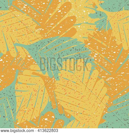 Abstract Paint Spatter Tropical Leaves Seamless Vector Pattern Background. Painterly Backdrop With T