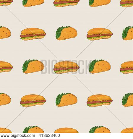 Burgers And Hot Dogs With Greens On A Seamless Pattern. Geometric Arrangement Of Elements.