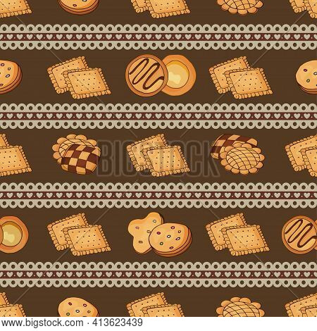 Cookies On A Seamless Pattern With Lace Border Stripes.