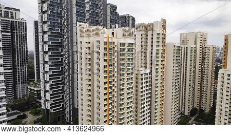 Singapore - Mar 19, 2021: Singapore Center Zone Residential Hdb Building Area Skyline.