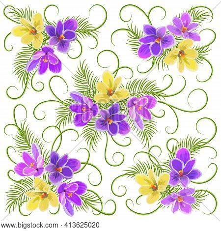 Pattern With Flowers And Leaves.multicolored Crocuses And Green Leaves On A White Background In A Ve