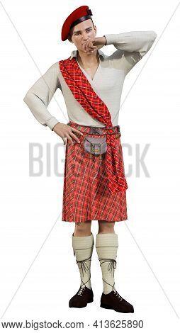 3D Rendering Highlander On White