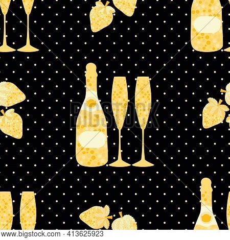 Champagne And Strawberry Vector Seamless Pattern Background. Elegant Gold Black Backdrop With Fizz,
