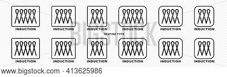 Product Packaging Concept. Marking Is An Induction Type Of Heating. Flat Induction Symbol In A Frame