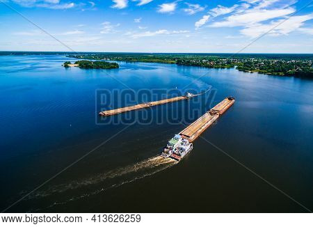 Aerial View Of Barge Or Offshore Vessel With Cargo On The River.