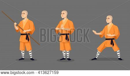 Shaolin Monk In Different Poses. Male Character In Cartoon Style.