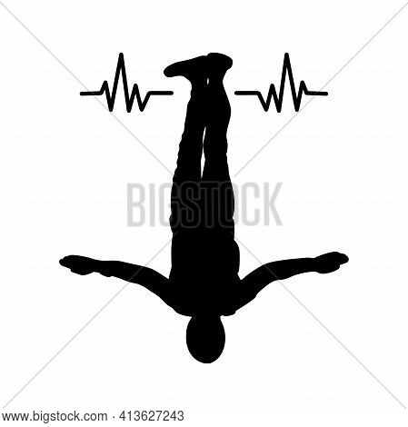 Skydiver Silhouette With Heart Line. Vector Cardiogram Heartbeat Pulse.