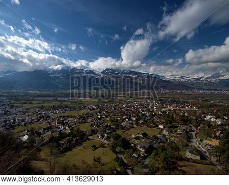 Fantastic View Over The Rhine Valley And The Swiss Alps From Vaduz In Liechtenstein 17.2.2021