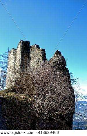 Historic Old Wildschloss Ruin In Vaduz In Liechtenstein 17.2.2021