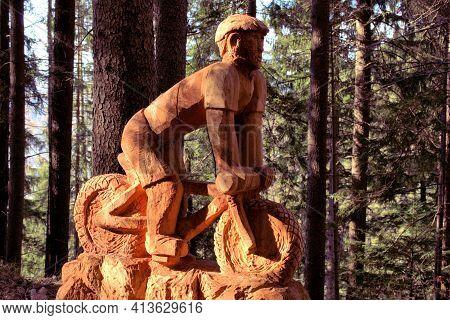 Handmade Wooden Sculpture In A Forest In Vaduz In Liechtenstein 17.2.2021