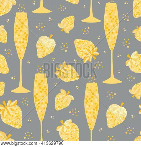 Champagne And Strawberry Vector Seamless Pattern Background. Yellow Grey Duotone Backdrop With Fizz,