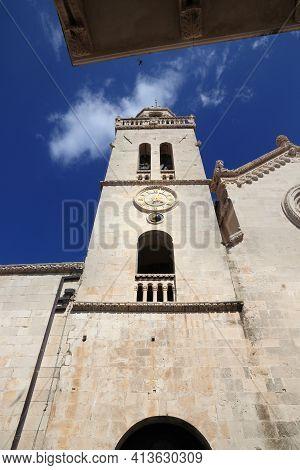 Croatia Korcula Town. Cathedral Of St. Mark - Roman Catholic Romanesque Style Landmark.