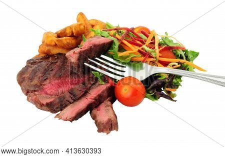 Rare Cooked Sirloin Steak And Chips Meal With Salad, Isolated On A White Background