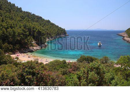 Pupnatska Luka Beach In Croatia. Korcula Island Adriatic Sea Coast Landscape.