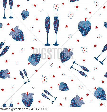 Champagne And Strawberry Vector Seamless Pattern Background. Blue Red White Backdrop With Fizz, Cham