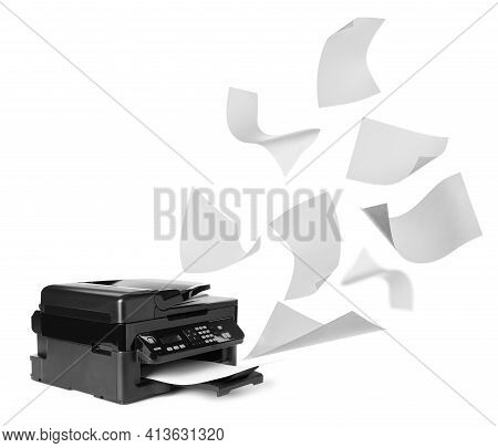 Modern Multifunction Printer And Flying Sheets Of Paper On White Background