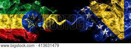 Ethiopia, Ethiopian Vs Bosnia And Herzegovina, Bosnian, Herzegovinian Smoky Mystic Flags Placed Side